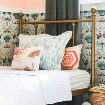 Gold Bed Bird Wallpaper Velvet Curtains Peach Paint