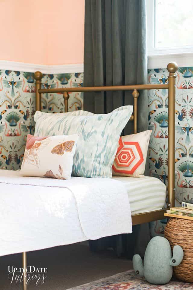 Gold Bed Bird Wallpaper Velvet Curtains Peach Paint in a girls room makeover