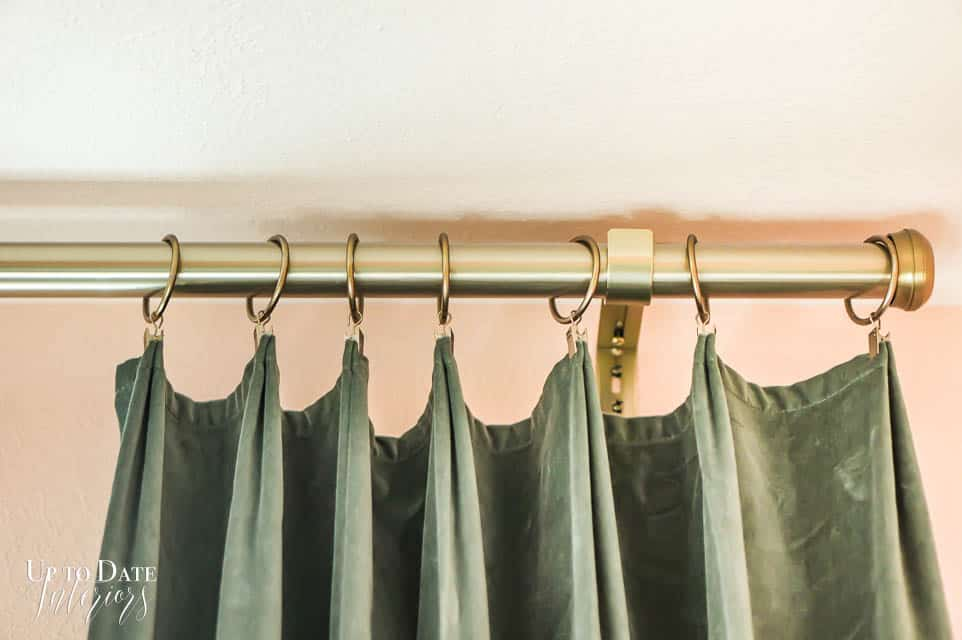 Green Velvet Curtains Gold Frame Pink Wall