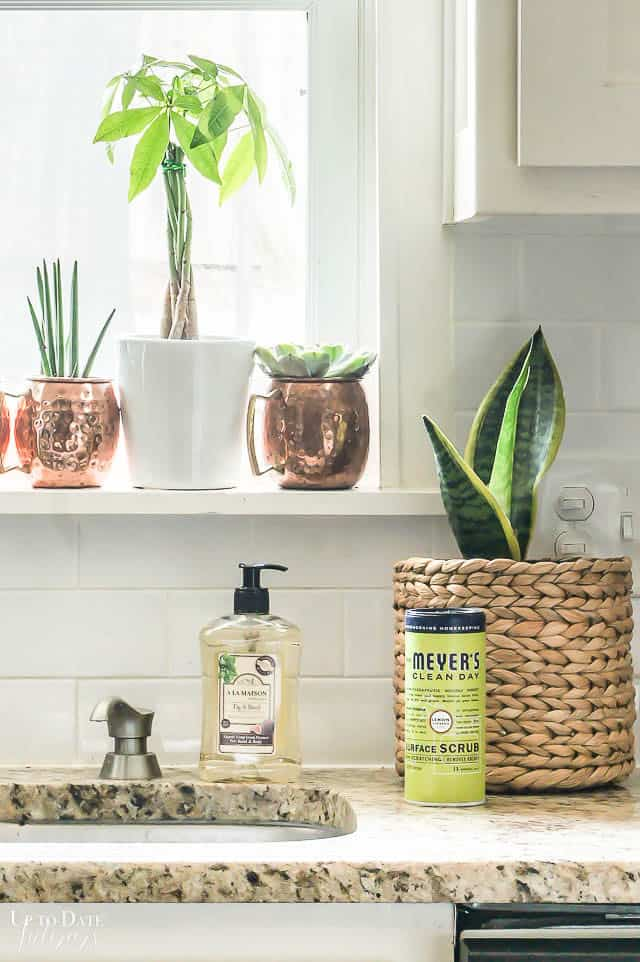 Non toxic household cleaners and hand soap in a bright kitchen with white cabinets, granite, and plants.