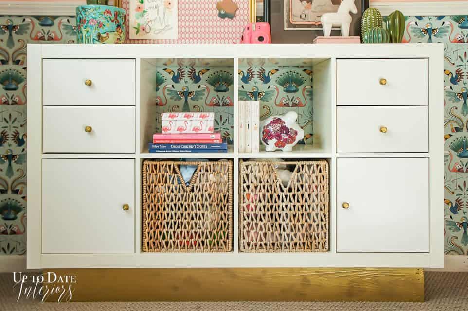 Ikea Kallax Bookcase Hack Glam Furniture in girls room makeover