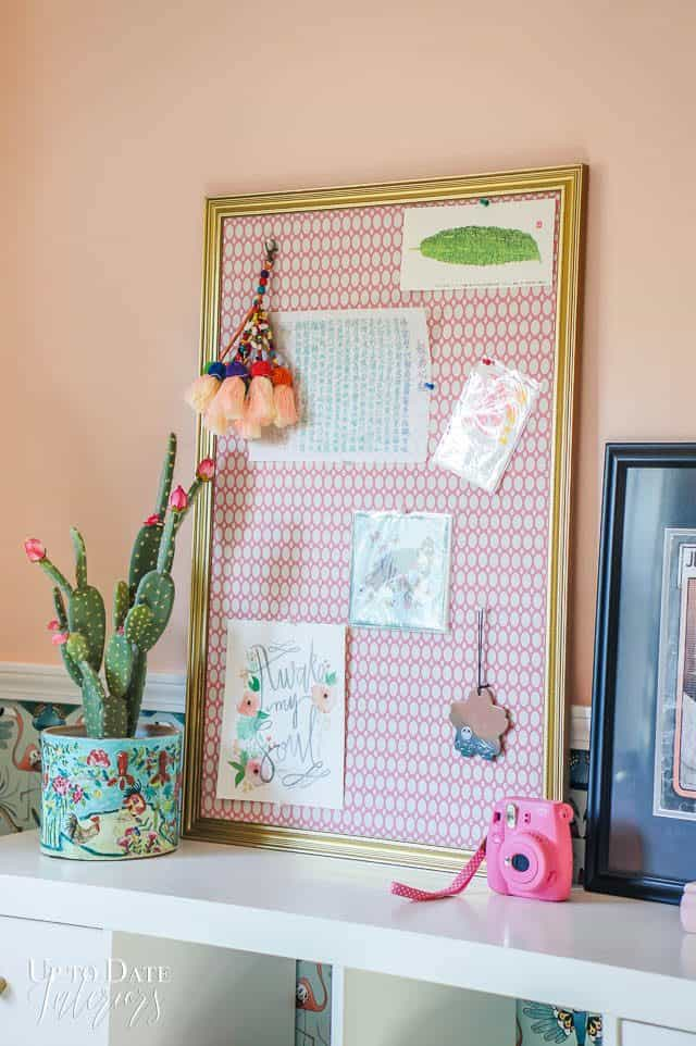 Pink Bulletin Board Gold Frame With Tassels