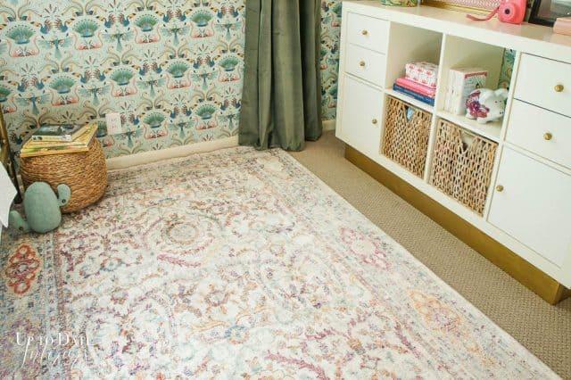 Vintage Rug with Bird Wallpaper in Room Makeover