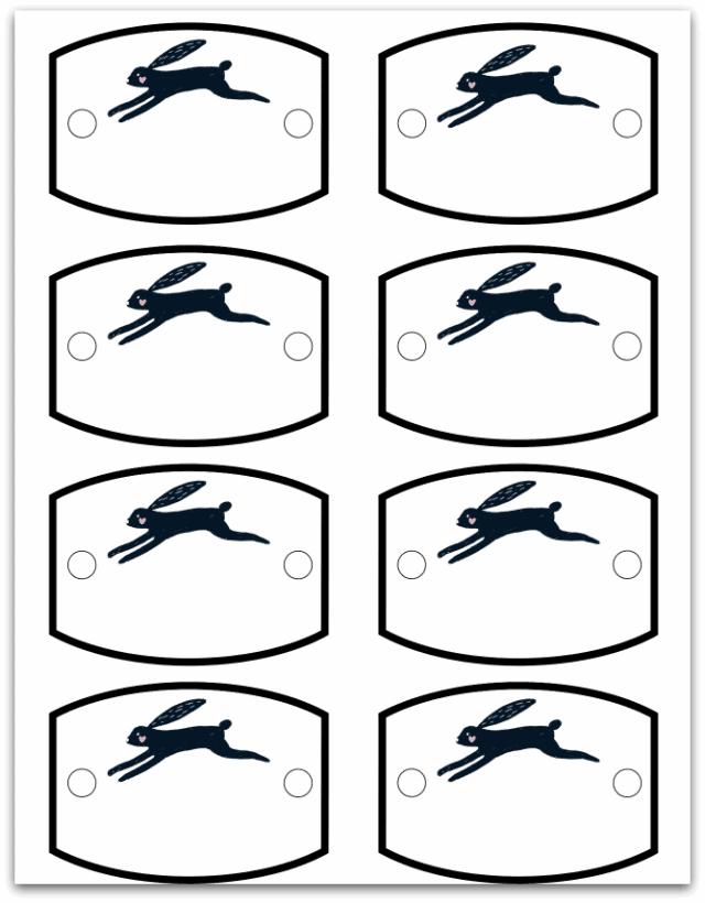 Black Rabbit place cards printable