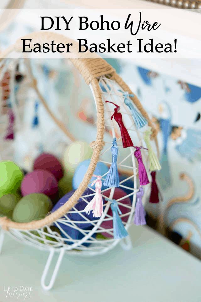 Boho Easter Basket Wire With Tassels Pinterest