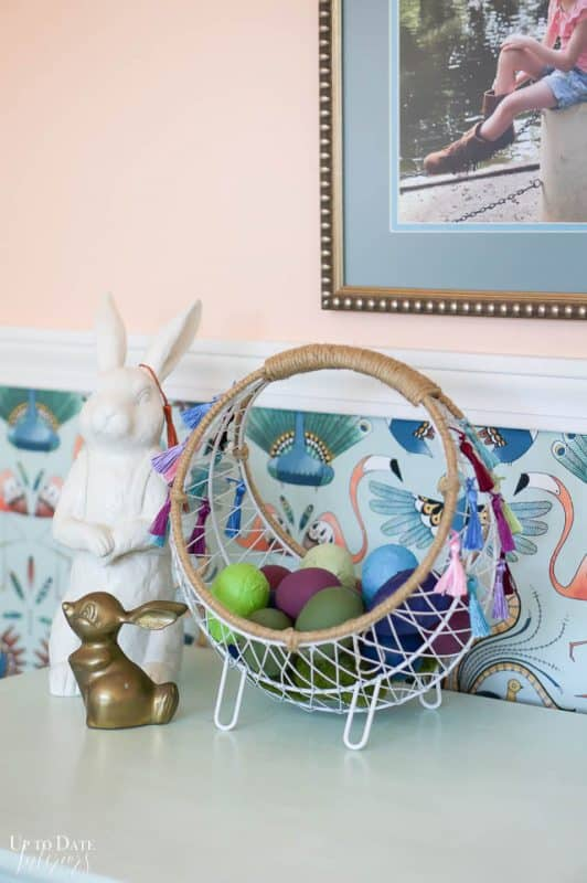 Boho wire Easter Basket With Tassels 6