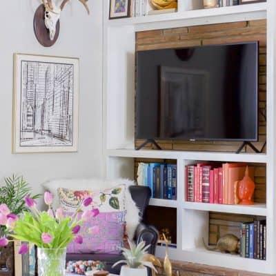 Colorful Spring Home Tour Decorating Ideas around a tv