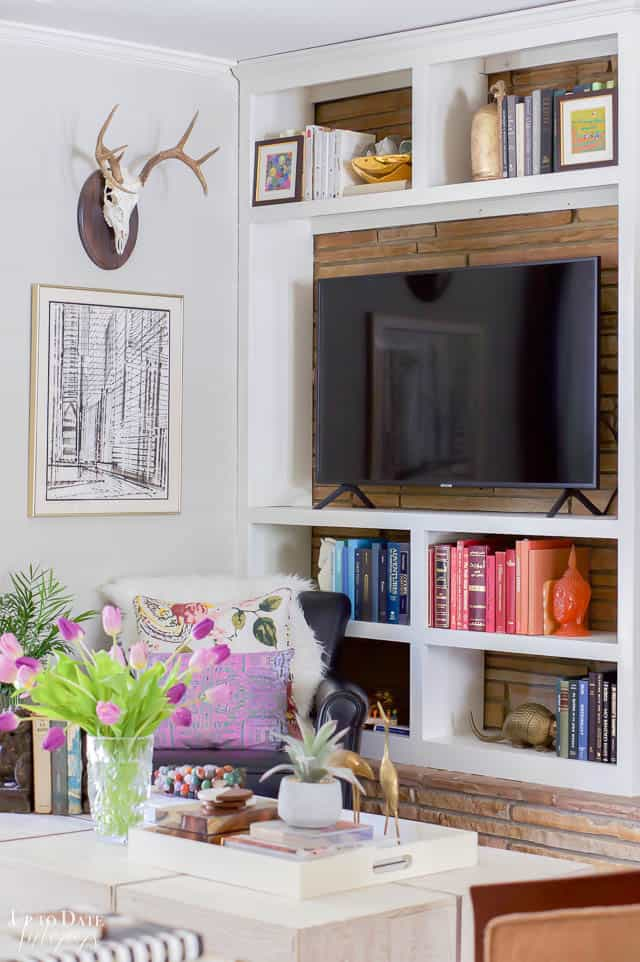 Colorful Spring Home Tour Decorating Ideas around a tv