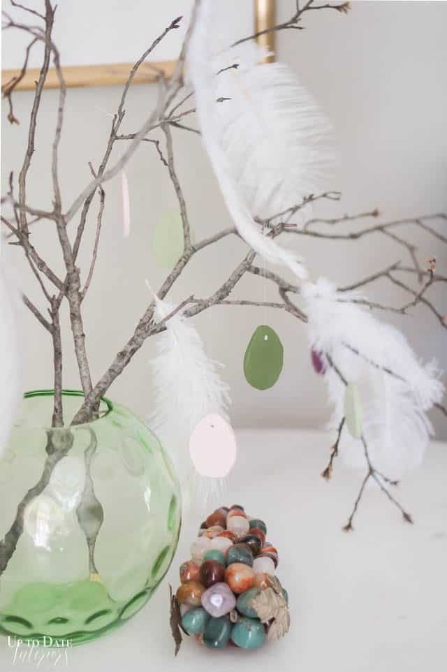 Easter Tree With Clay Eggs and vintage glass grapes