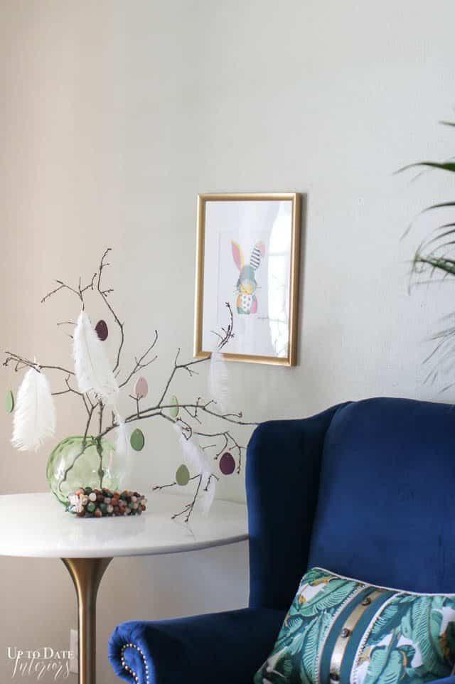 Easter Tree With Clay Eggs and blue chair