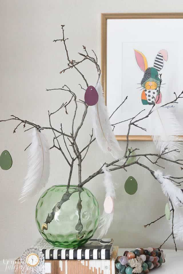 Easter Tree With Diy Clay Eggs and bunny art