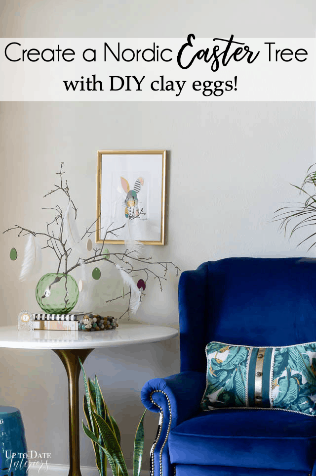 Easter Tree With Diy Clay Eggs on a tulip table with a blue chair and bunny art print