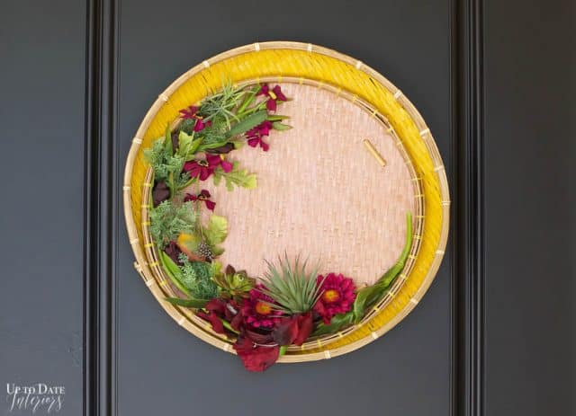 Elegant And Modern Spring Wreath with threshing baskets on a front door