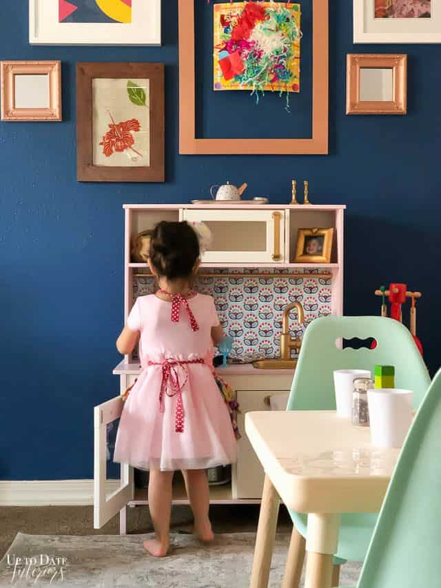 Ikea Play Kitchen hack tutorial with blue wall and art gallery