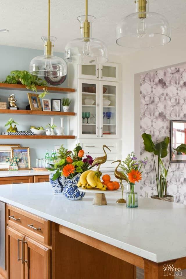 Kitchen Island Bohemian Style Spring Decor