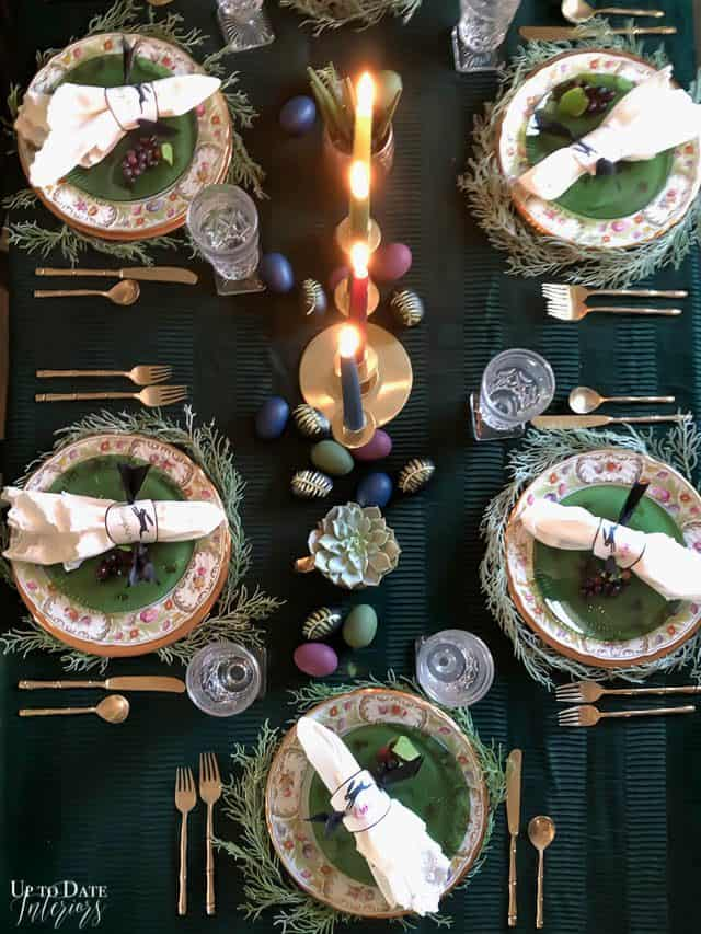 Modern Easter Tablescape With Moody Colors