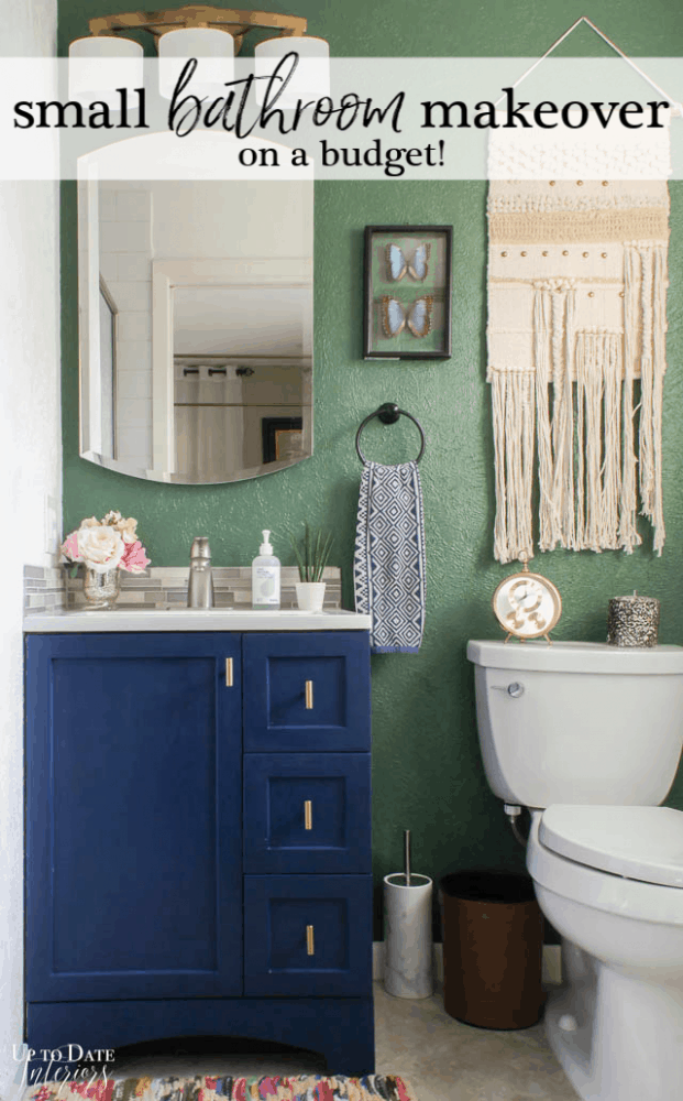 Small Bathroom Makeover on a budget with blue cabinet and green wall