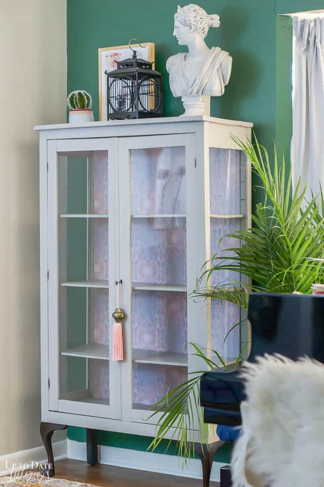 Boho Glam Cabinet Makeover With peel and stick Wallpaper