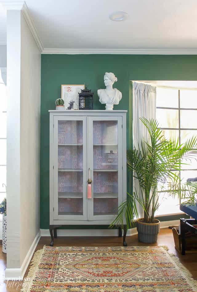 Boho Glam Cabinet Makeover With Removable Wallpaper 4