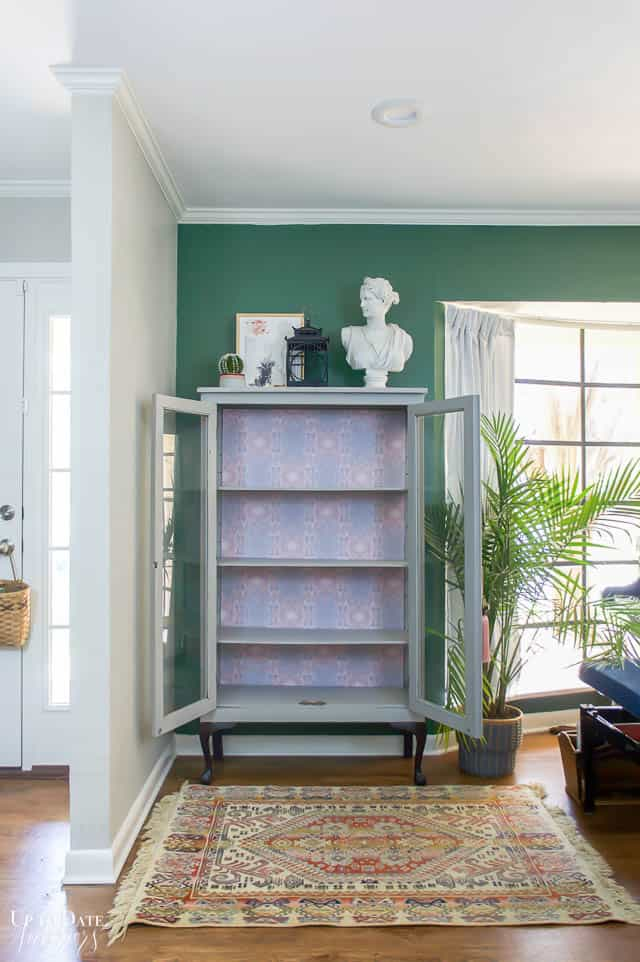 Boho Glam Cabinet Makeover With Removable Wallpaper 5