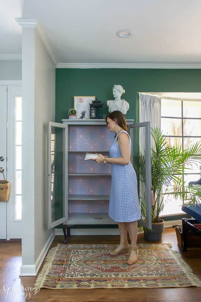 Boho Glam Cabinet Makeover With Removable Wallpaper 6