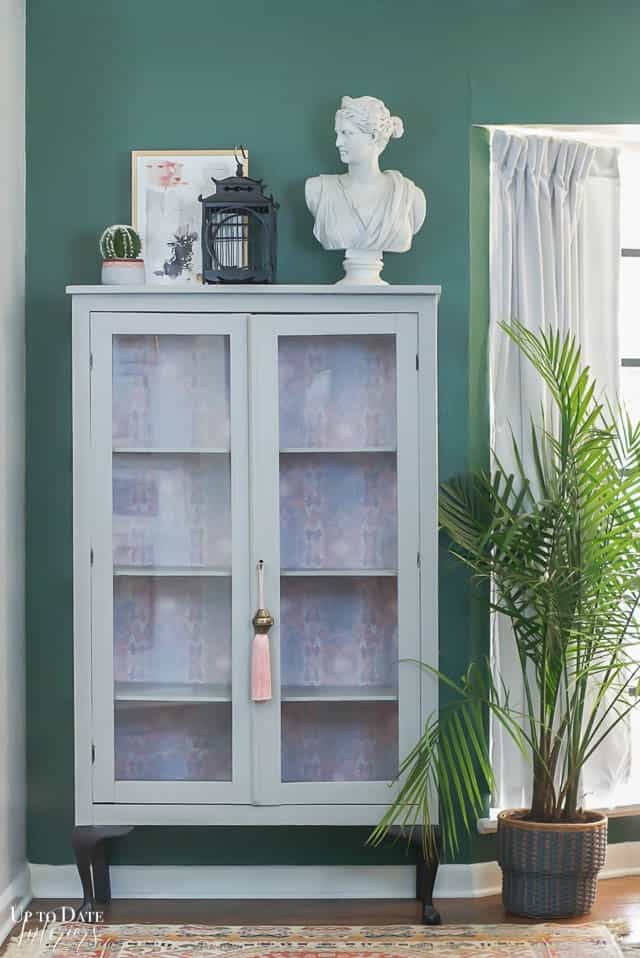 Boho Glam Cabinet Makeover With Removable Wallpaper 7