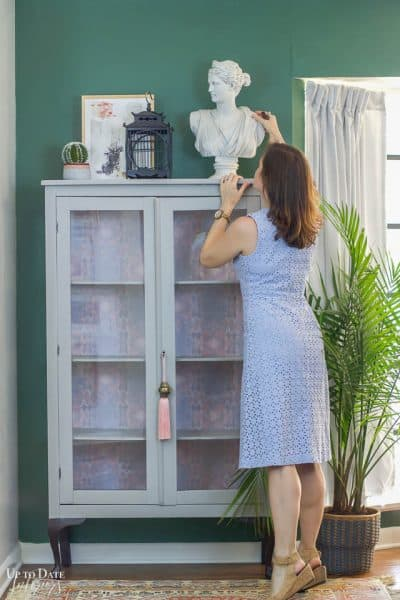 Boho Glam Cabinet Makeover With Removable Wallpaper 8