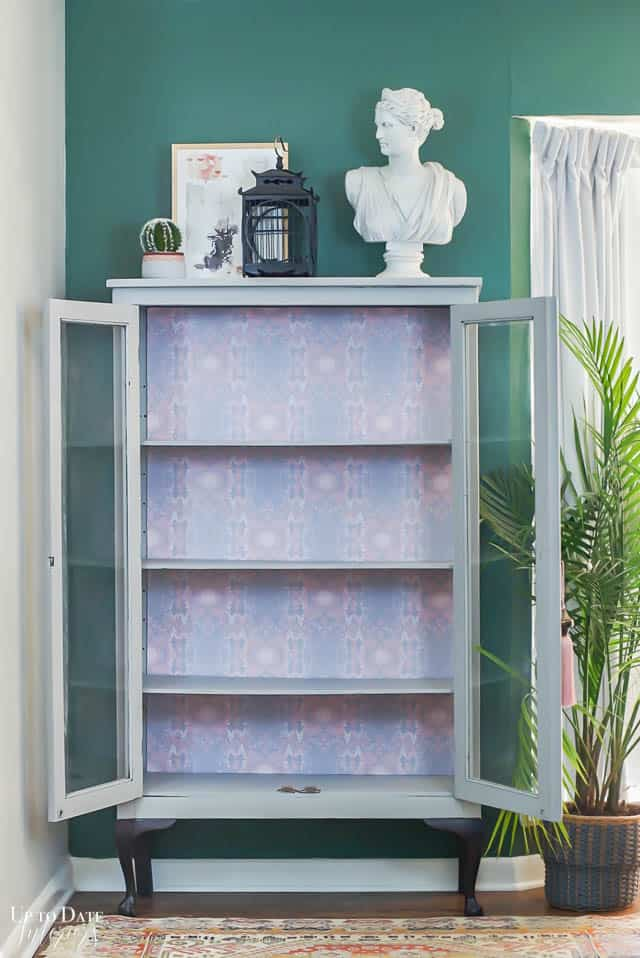 Boho Glam Cabinet Makeover With Removable Wallpaper 9