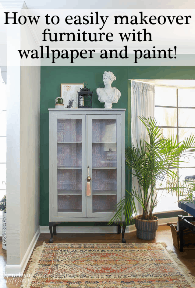 peel and stick wallpaper on furniture with paint for a glam and boho update