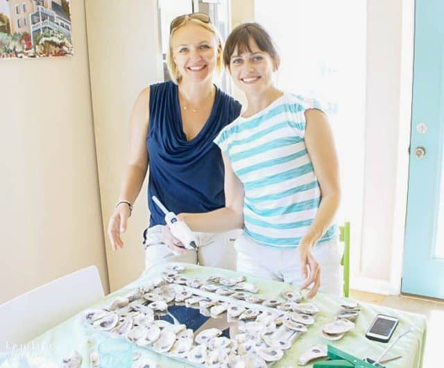 Diy Oyster Shell Mirror  with two girls in a bright and sunny room