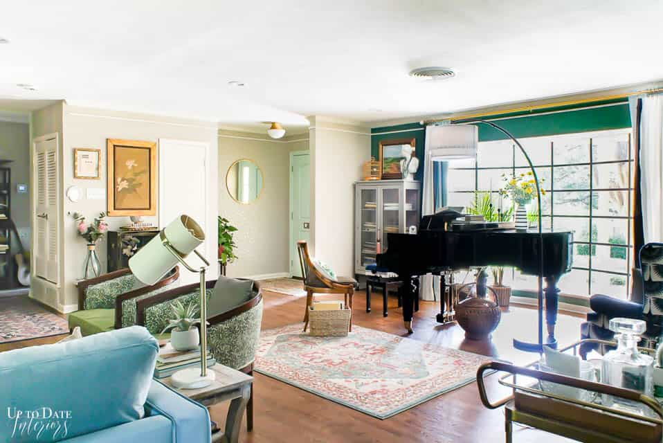 full room shot of foyer piano studio and living room with bold colors and eclectic maximalist styling