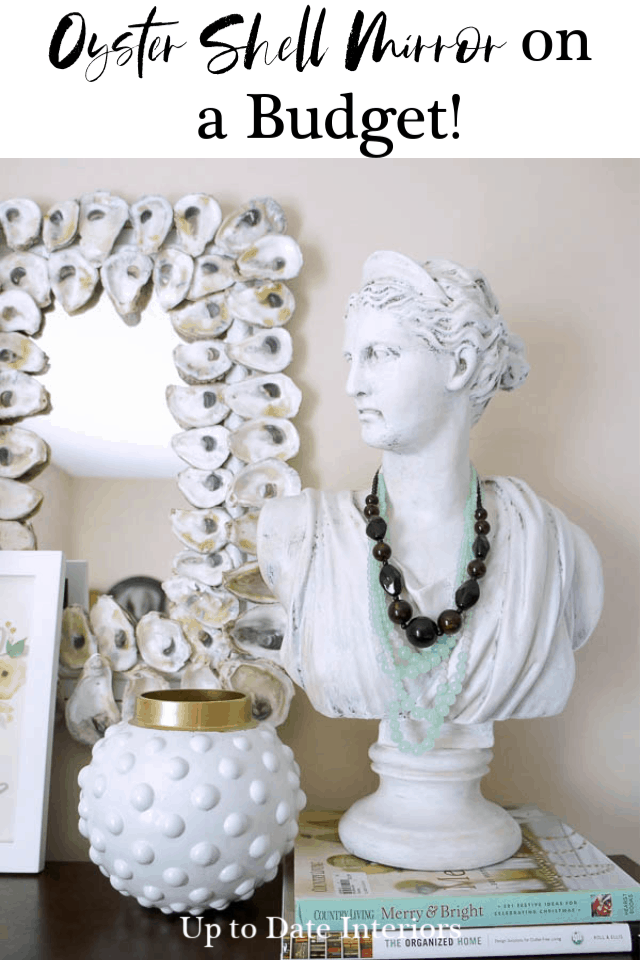 diy oyster shell mirror with woman's bust