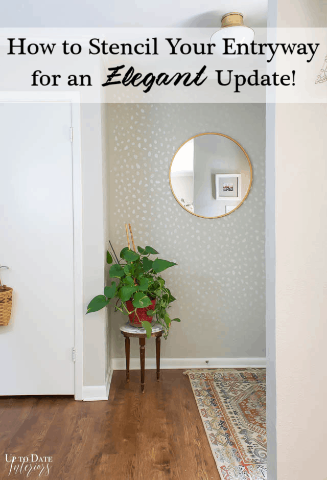 Stencil Wall Entryway Makeover Pinterest with round mirror and plant