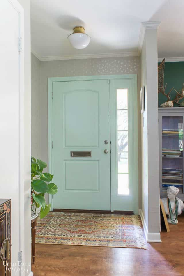 Stencil Wall Foyer Makeover with mint green door bright and airy