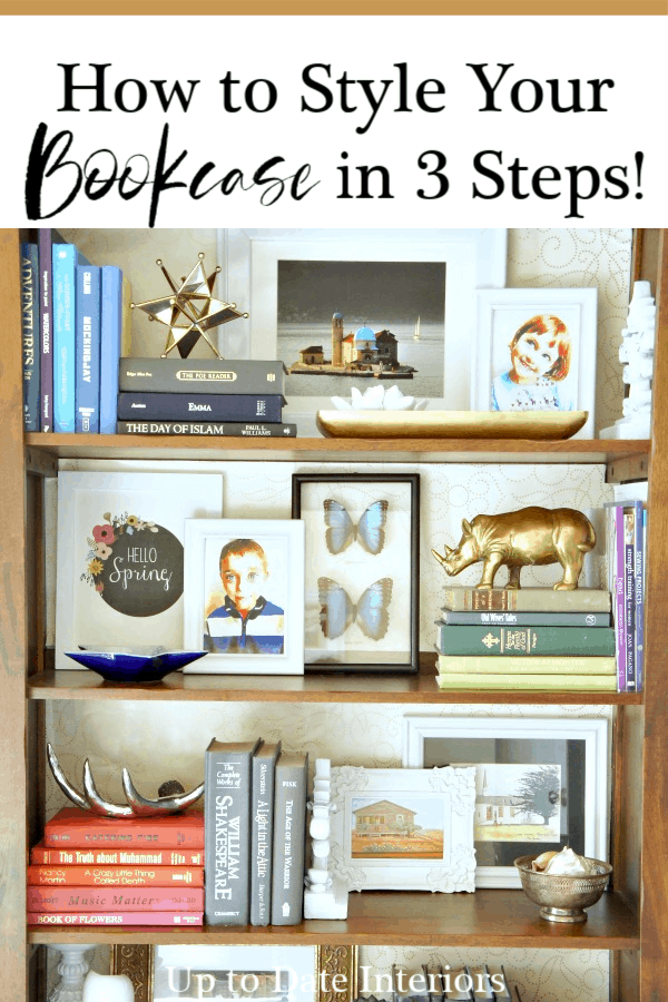 shelf decorating ideas in three simples steps. Styled bookcase with lots of color.