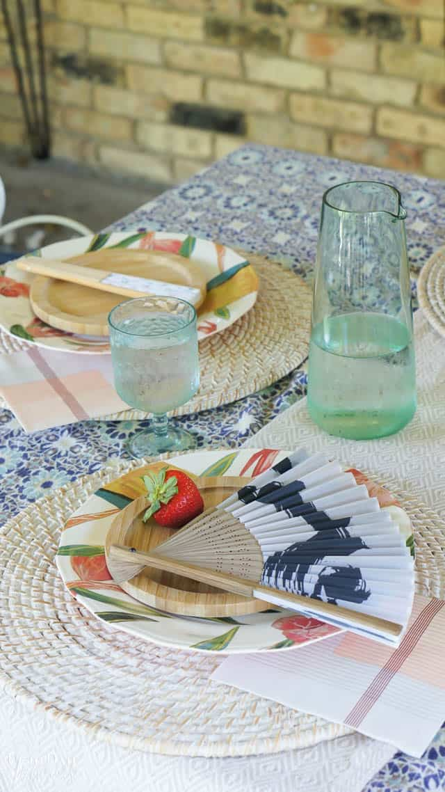 Bright Colorful Patio Table Setting 13