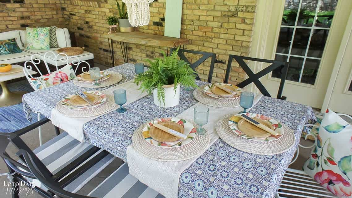 Bright Colorful Patio Table Setting 17