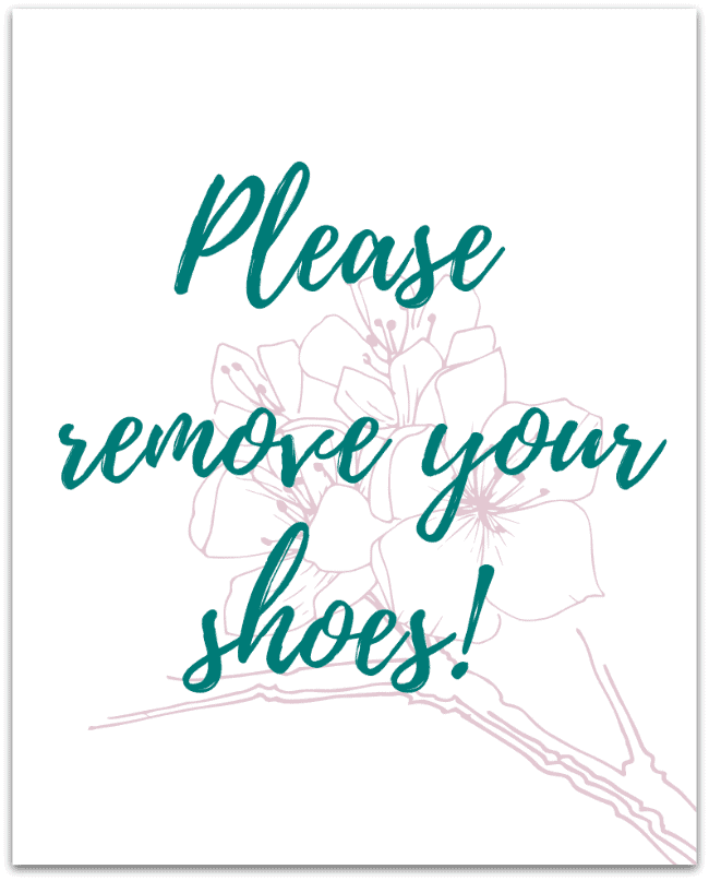 Please Remove Your Shoes Drop Shadow, take off your shoes sign for the entryway or foyer