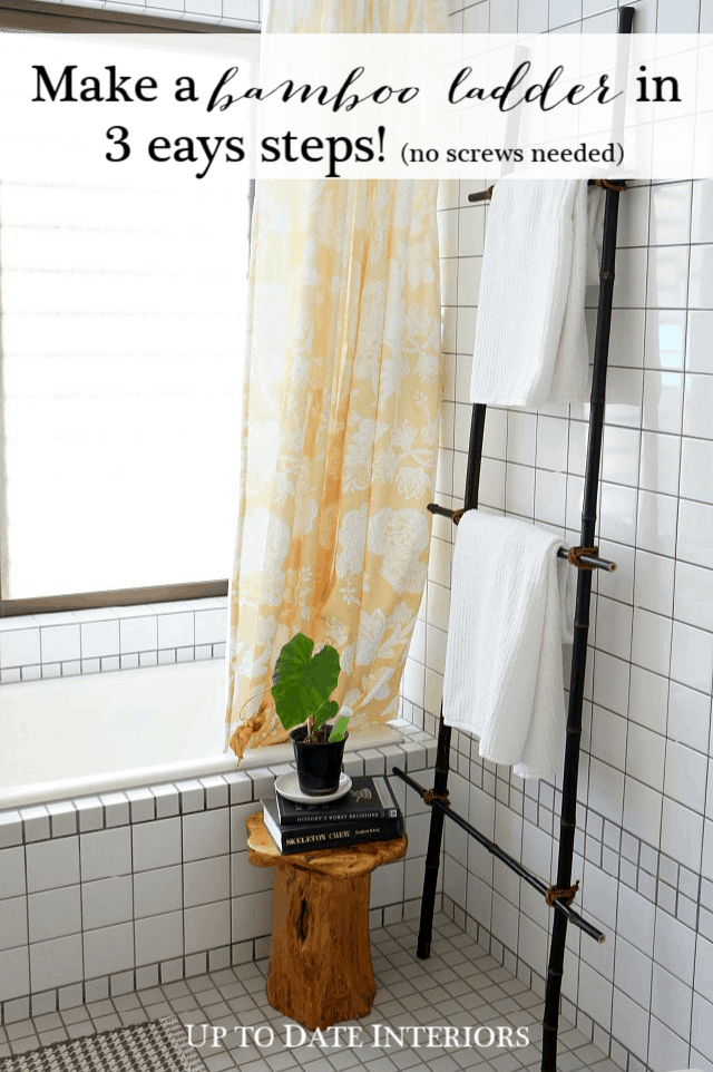 DIY blanket ladder with bamboo for under $10