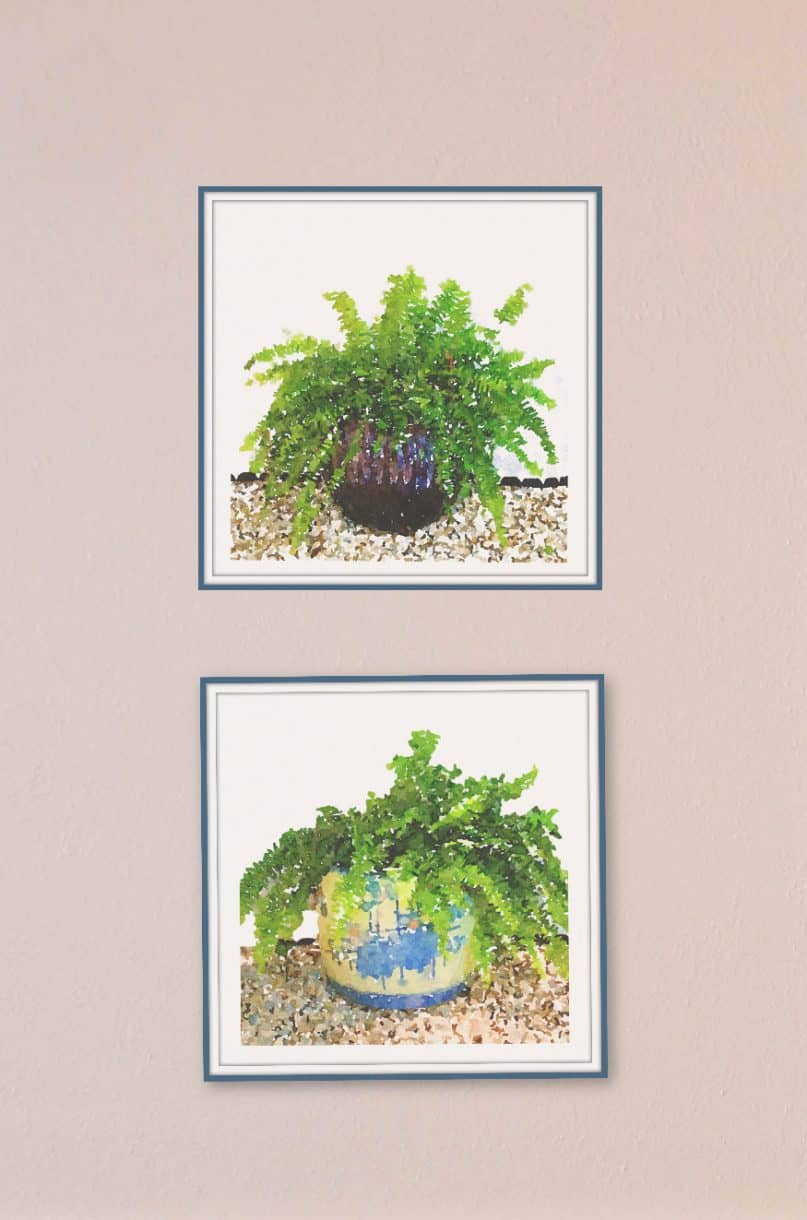 Closeup of Free Art Prints with watercolor ferns.