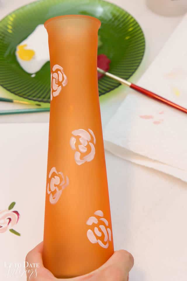 Hand Painted Floral Dollar Store Vase 2
