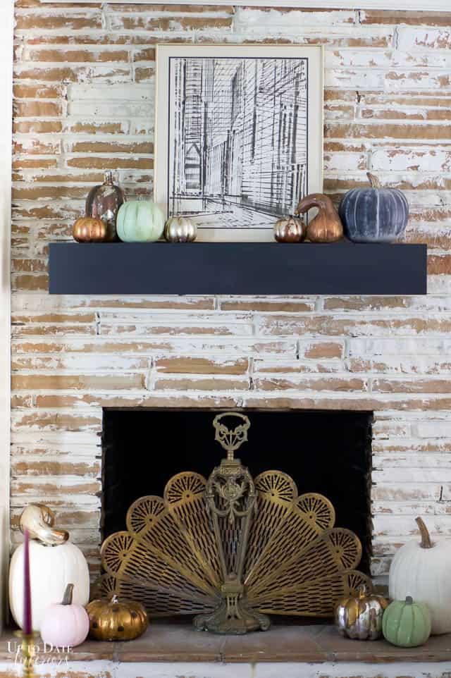 faux heirloom pumpkins with Fall Decor Blog Home Tour 12