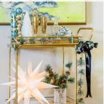 Eclectic Christmas Bar Cart Decorations Green