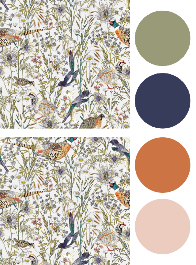 Color Palette concept board interior design based off a sample of bird wallpaper