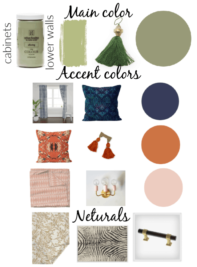concept board interior design showing colors and decorating accessories