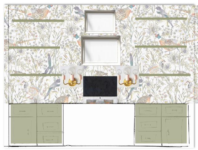 Desk Wall Elevation virtual design board