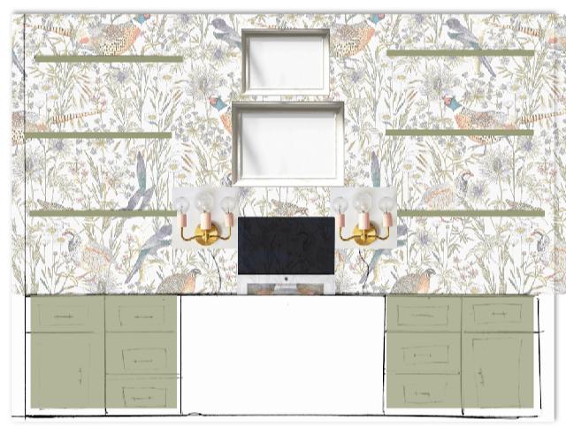 Desk Wall Elevation virtual design board