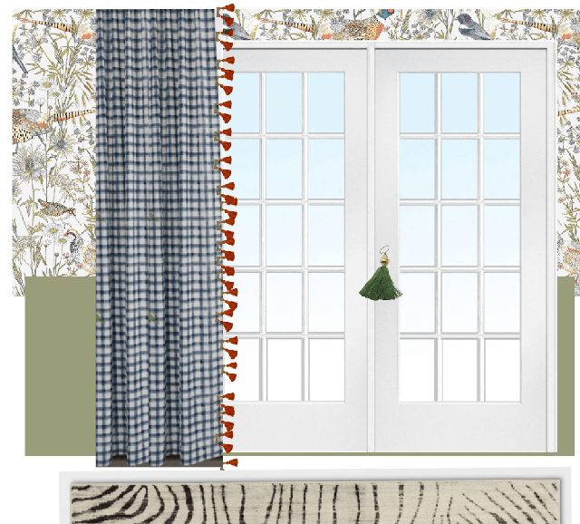 mood board interior design showing french doors, wallpaper, and curtains virtual design board