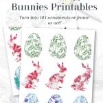 Bunnies Eggs Floral Printable Pinterest Black