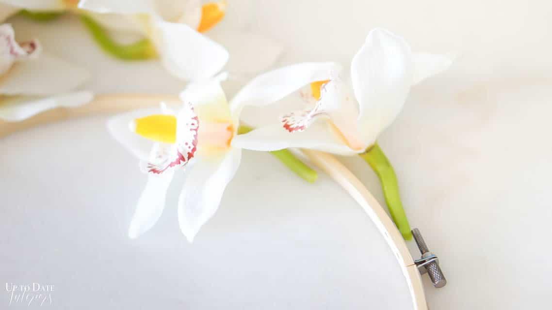 orchid flower hoop wreath steps